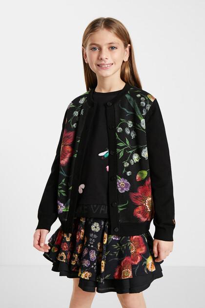 Knit jacket flowers