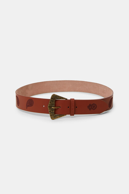 Leather belt paisley