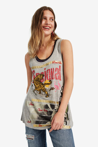 Sleeveless printed and embroidered T-shirt