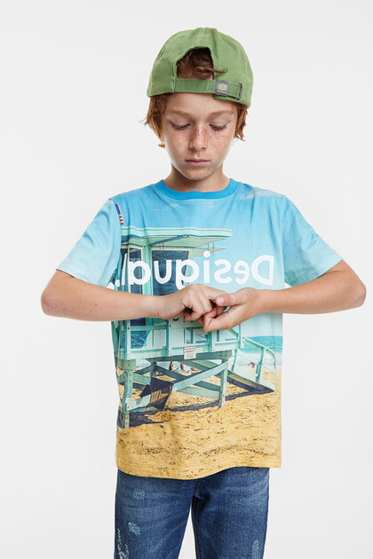 Photographic beach print T-shirt