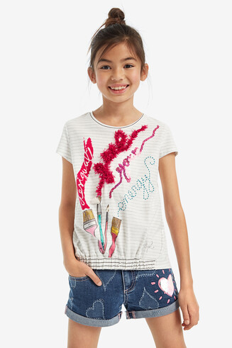 Paintbrush finely striped T-shirt