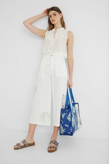 Calças culotte cropped bordados   Desigual