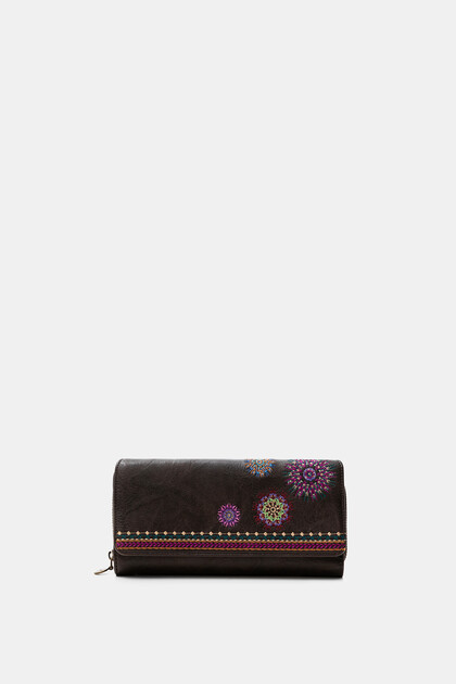 Rectangular wallet embroidered flap