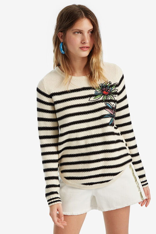 Striped jumper with floral embroidery | Desigual