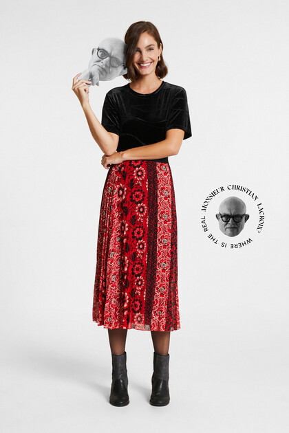 Flared skirt pleated printed
