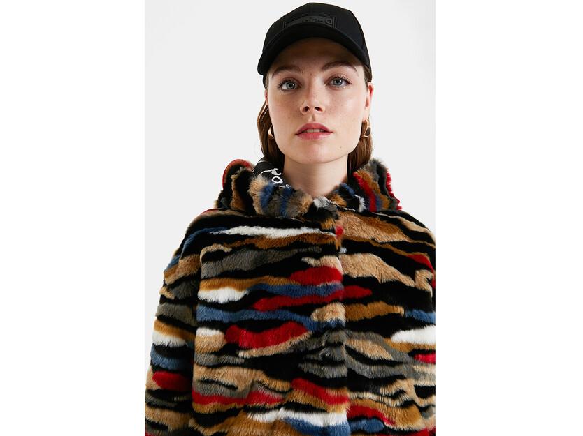 Multicolour plush short jacket