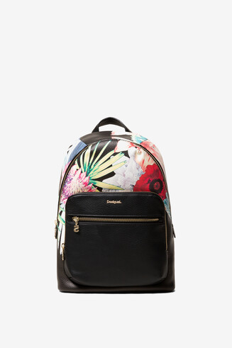 Black Tropical Print Backpack Oima