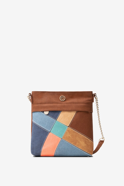 Square suede and patch sling bag