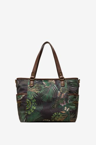 Green Bag with Tropical Print Maxton