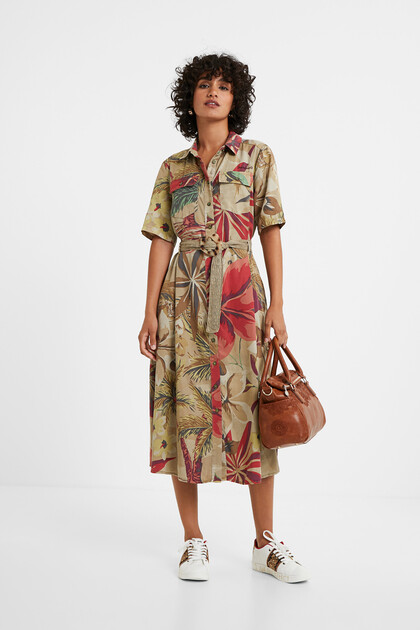 Camoflower shirt dress