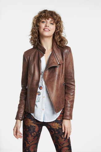 Biker jacket embossed back