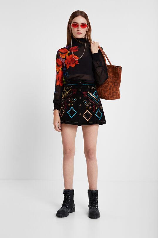 Black corduroy miniskirt with ethnic embroidery | Desigual