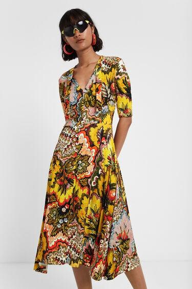 Robe évasée col à nouer Designed by M. Christian Lacroix | Desigual