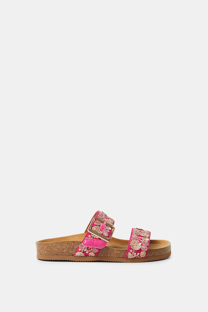 Sandals cork sole embroidered straps
