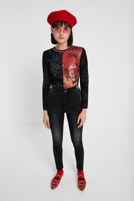 Floral T-shirt of metallic fibres   Desigual