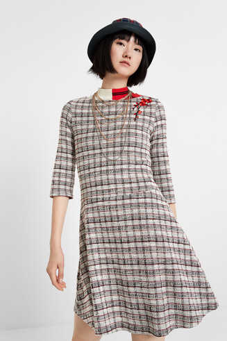 Flared checked dress