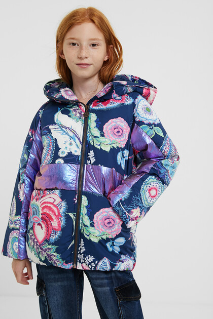 Padded jacket hood flowers