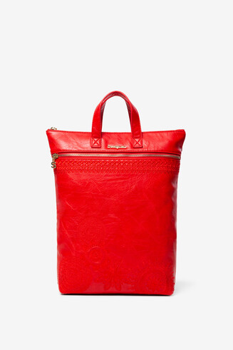 Red Leather-Effect Backpack Baza