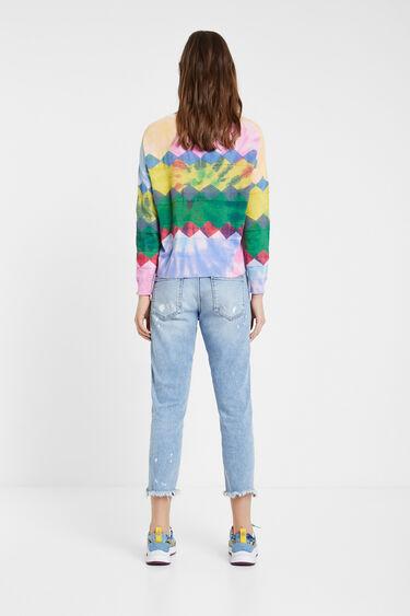 Faded fine jumper with diamonds | Desigual