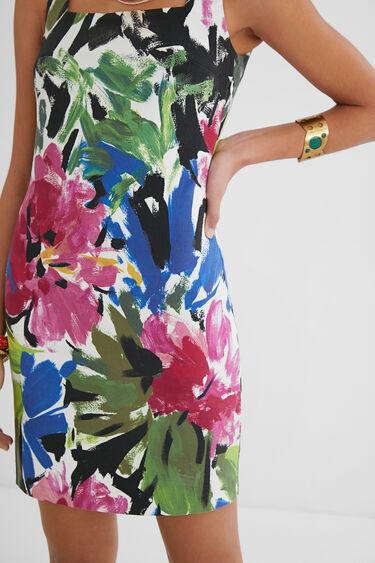 Slim dress painted flowers | Desigual