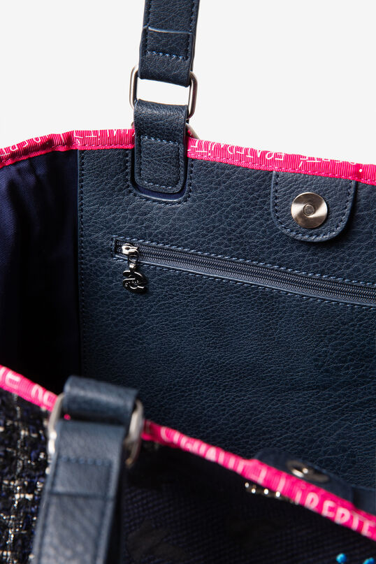 Black patch shopping bag | Desigual