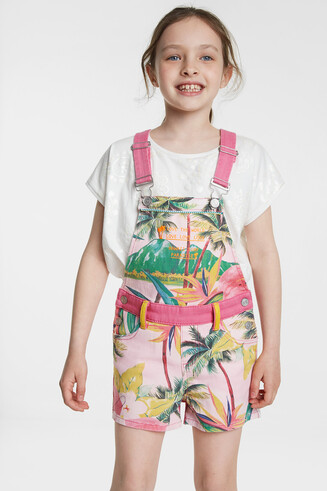 Short Hawaiian overall with straps