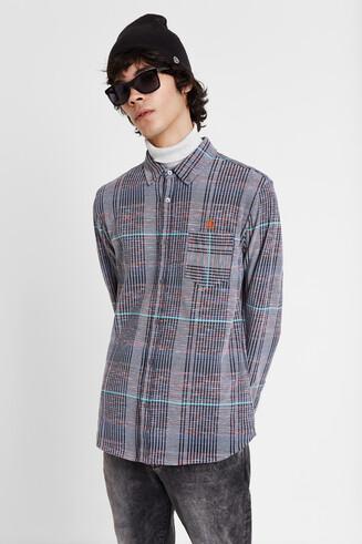 厚手ニットライン柄シャツ
