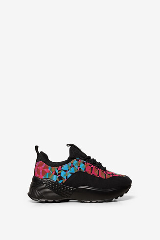 Chunky print patch trainers