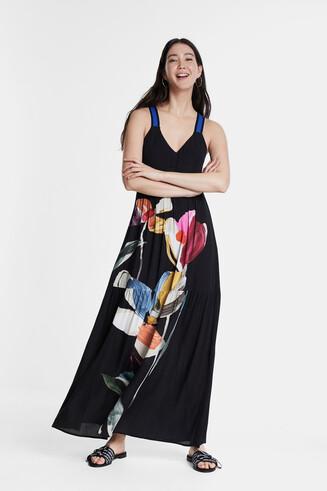 Wijd uitlopende gebloemde jurk met schouderbandjes