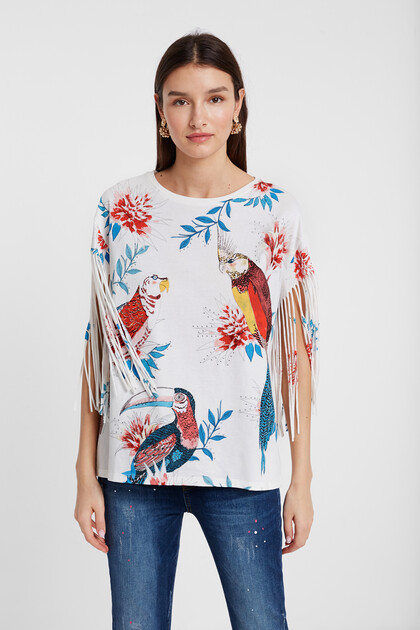 Tropical print T-shirt with fringe