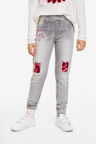 Sequin patch jeans