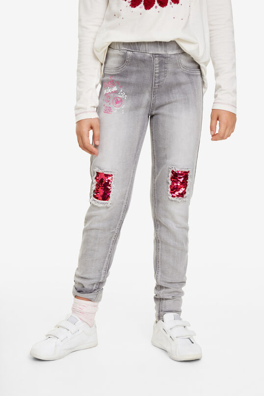 Sequin patch jeans | Desigual