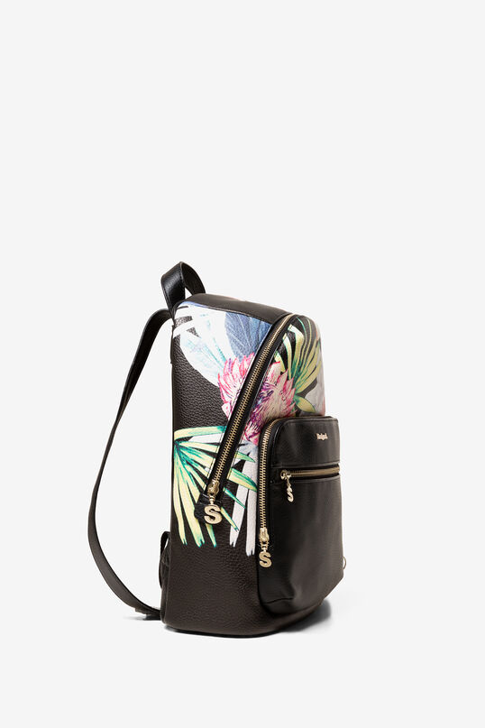 Black Tropical Print Backpack Oima | Desigual