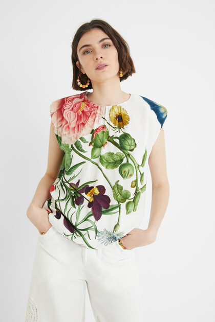 Sleeveless print T-shirt