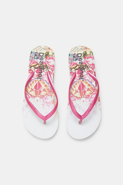 Fuchsia bathing flip-flops printed sole