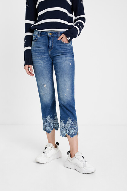 Pantalon en jean straight cropped