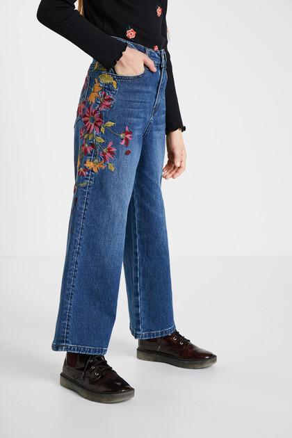 刺繍 ワイドレッグジーンズ