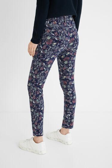 Knöchellange Skinny Pants Blumen   Desigual