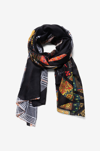 Floral and check scarf
