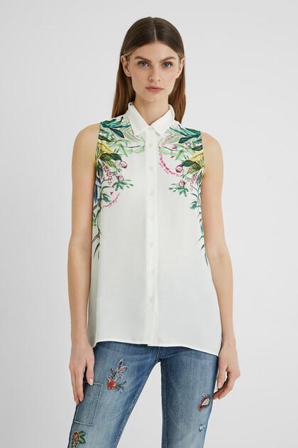Sleeveless shirt asymmetric hem