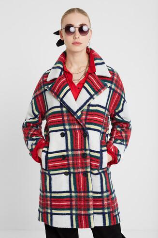 Manteau tartan en laine