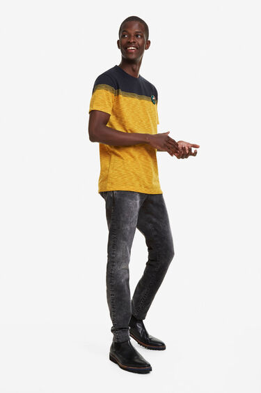 Yellow Jacquard T-shirt with embroidered detail | Desigual