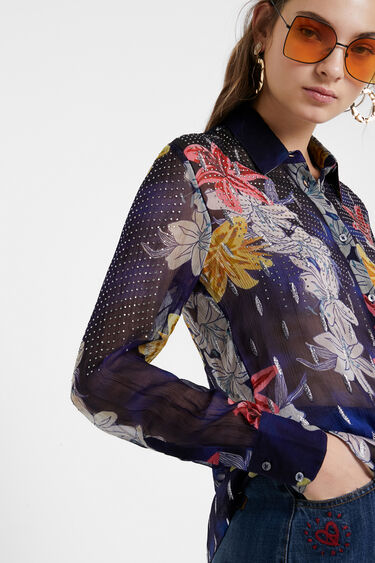 Camisa floral con transparencias y pedrería | Desigual
