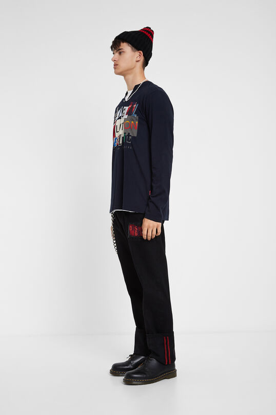 Mandarin collar T-shirt lettering mix | Desigual