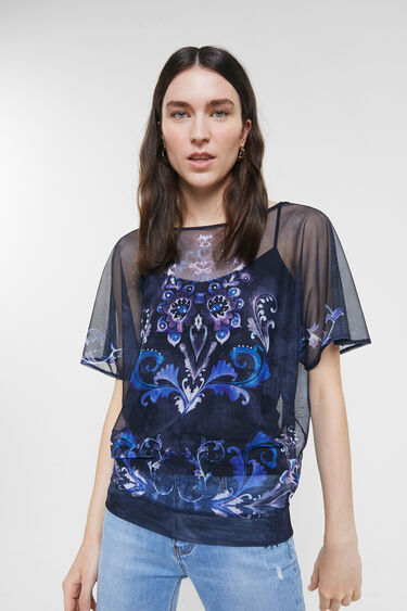 Zweilagiges, geblümtes T-Shirt | Desigual