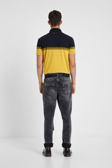 Yellow Jacquard polo shirt with embroidery | Desigual