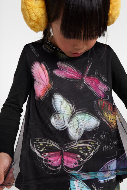 Print T-shirt tulle layer