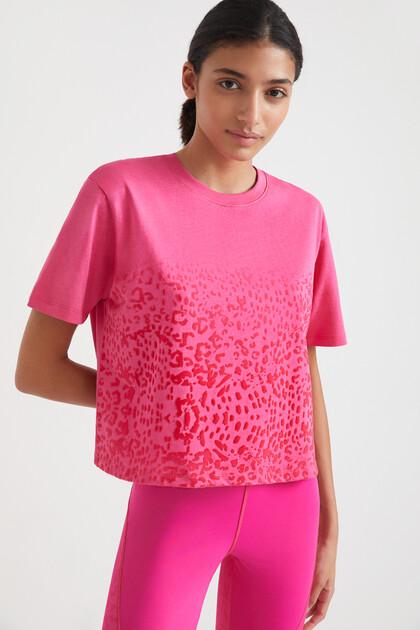 T-Shirt mit Leo-Print 100% Baumwolle