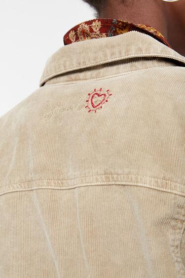 Veste trucker en velours côtelé à franges et broderies | Desigual