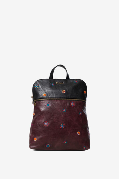 Bicolour synthetic leather backpack